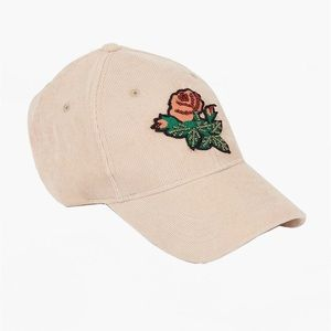 LUCKY BRAND Blush Corduroy Flower Patch Hat NWT